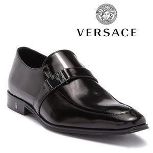 VERSACE Men's Black Leather Slip-On Loafer